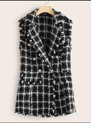 SheIn Cardigan en crochet noir-blanc
