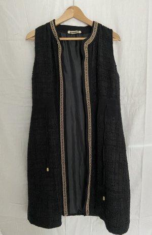 Długa dzianinowa kamizelka czarny-piaskowy brąz Poliester