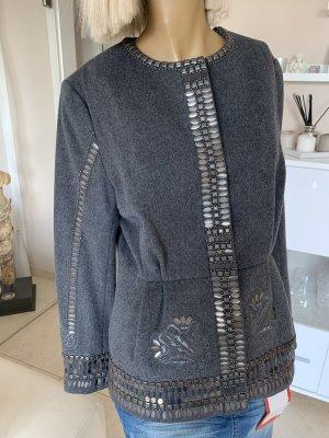 Elegante Woll-Jacke .. Stickerei .. Pailletten .. grau .. Gr. 42 # H&M Collection # Neu