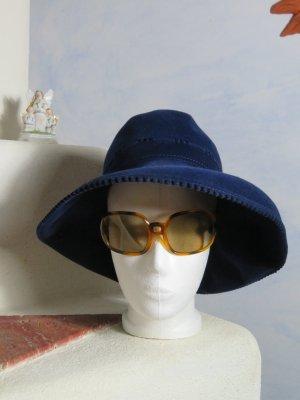 Vintage Miękki kapelusz z szerokim opuszczonym rondem niebieski-ciemnoniebieski