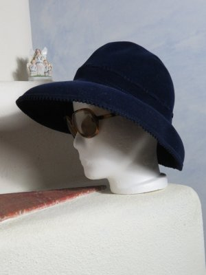 Vintage Chapeau à larges bords bleu
