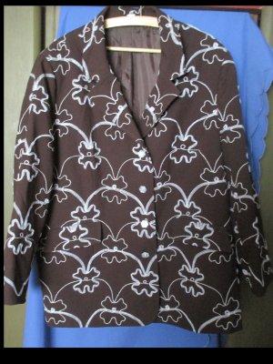 Eleganter Blazer in Schokobraun mit Verzierungen Größe 54