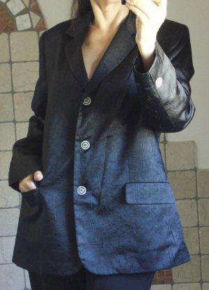 Eleganter Blazer in schwarz, Vintage, glänzendes Material aus Viskose/Polyester mit Struktur und schönen Knöpfen, klassischer Schnitt, Longblazer, mit Revers und Taschen, gefüttert, edel, elegant, festlich, Glanz, Knöpfe in Perlmuttoptik, Vintage, TOP Zus