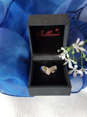 Eleganter Brilliani Ring, 925er Silber matt und glänzend