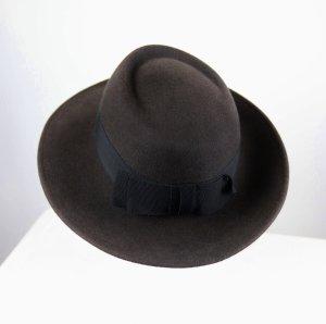 Chapeau à larges bords noir-gris anthracite tissu mixte