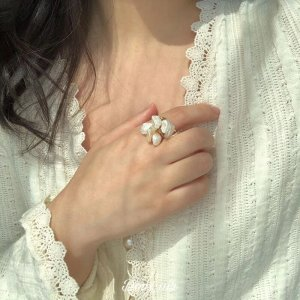 Statement Ring white-gold-colored