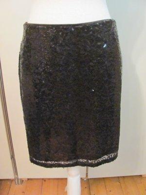 eleganter Divided Mini Rock mit Pailletten Farbe: schwarz Größe: M