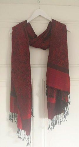 unknown Écharpe à franges noir-rouge foncé tissu mixte