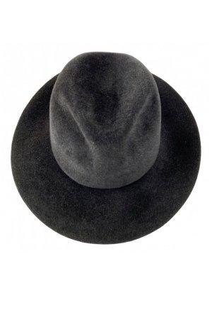 H.T.B. Hutmanufactur Wełniany kapelusz czarny-antracyt