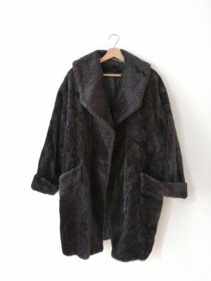 Abrigo ancho negro-taupe lana de alpaca