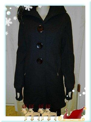 Ato-Berlin Manteau d'hiver noir laine