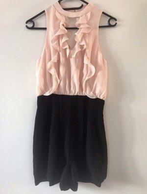 Eleganter rosa/schwarzer Hosenanzug