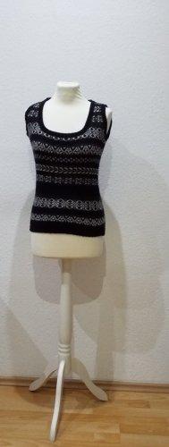 Benetton Sweter bez rękawów z cienkiej dzianiny biały-czarny