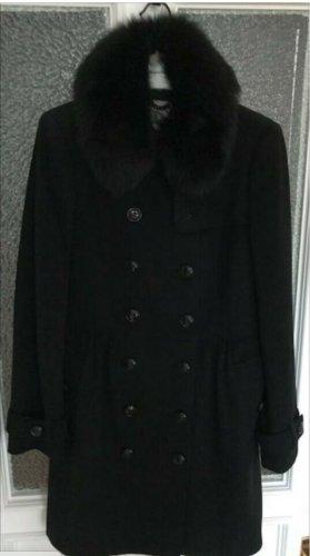Eleganter schwarzer Burberry-Wintermantel, Größe UK 8 / DE 34