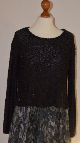 eleganter, schwarzer Pullover mit Pailletten in Gr. S / 36 von ZARA