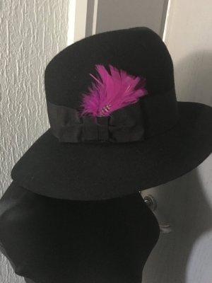 Cloche Hat black-magenta