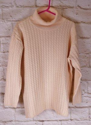 Eleganter Strickpullover Pullover Zopfmuster Via Appia Größe M 38 40 Rose Lachs Pastell Streifen Rollkragen Wolle Merino Wollpullover Pulli