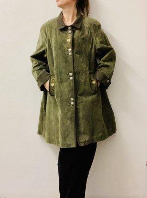 eleganter Trachten-Wild-Leder Mantel mit schönen Stickereien und Lodenbesätzen