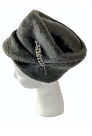 Chapeau en laine gris-gris foncé