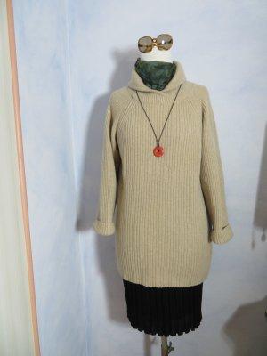 Eleganter Vintage OTTO KERN 90% Kaschmir Long Pullover - Gr. 42 - Hellbeige Chunky Rippenstrick - Gemütlich Warm