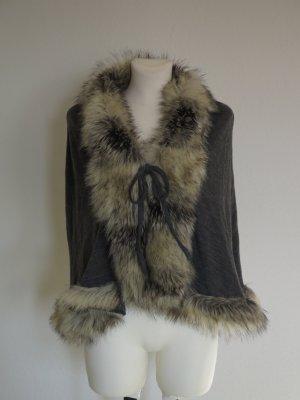 Poncho en tricot brun foncé polyester