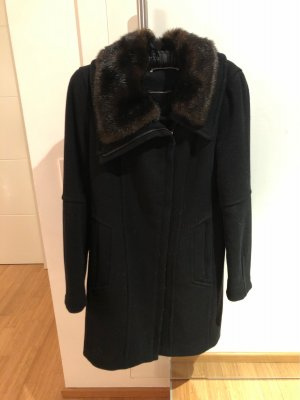 Mexx Cappotto in lana nero-marrone scuro Cotone