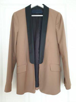 Zara Woman Veste de smoking noir-marron clair