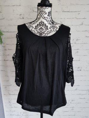 Elegantes Blusenshirt mit Häkelspitze Gr.46 schwarz