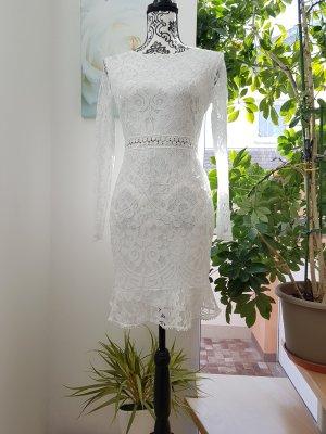 Elegantes Cocktail Kleid Spitze Gr 38 M weiß