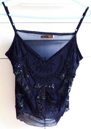 Elegantes Glamour Top mit Pailletten und Glitzerperlen, Rossa Miss, Größe L, schwarz