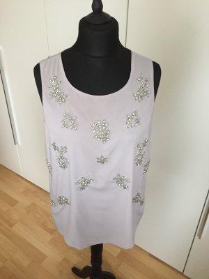 Elegantes Glamour-Top mit Strass-Stickerei, Grau