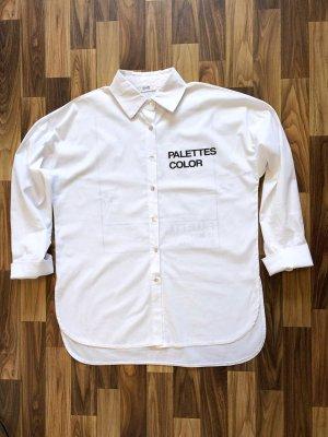 aus Italien Long Sleeve Blouse white-black cotton