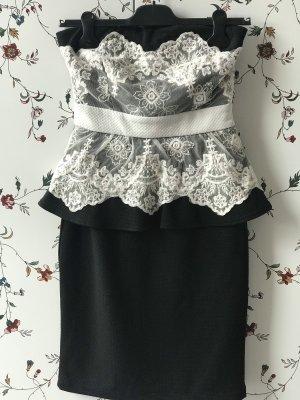 Vestido bustier negro-blanco