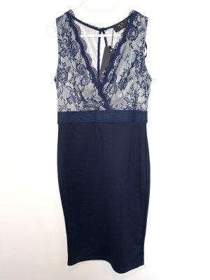 AX Paris Kanten jurk blauw-donkerblauw