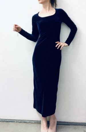 elegantes Kleid aus Samt in schönem dunklen Blauton, neu