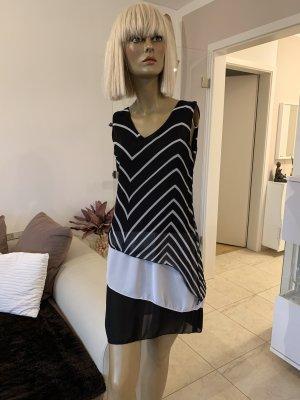 Elegantes Kleid .. Chiffon .. schwarz/weiß .. Gr. 36/38 #MM Malek Munich # Neu