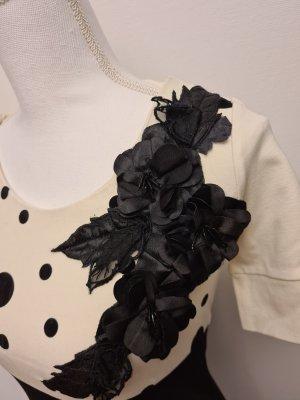 elegantes Kleid Etuikleid in schwarz weiß mit Blumenapplikation gepunktet Gr. XS
