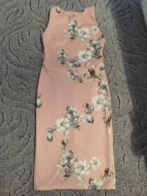 Elegantes Kleid rosa Blumen Gr. 38 M Stretch Einschulung Abi Gala