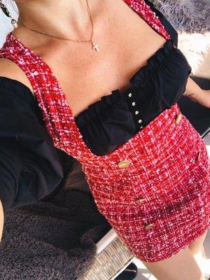Elegantes Kleidchen rot offene Brust mit Knöpfen tweed boucle