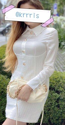 Elegantes Kleidchen weiß Bustier midi Etuikleid sexy