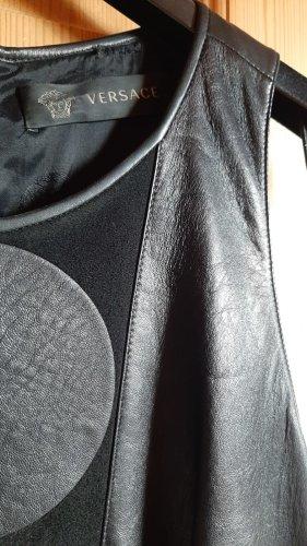 Versace Robe en cuir noir cuir