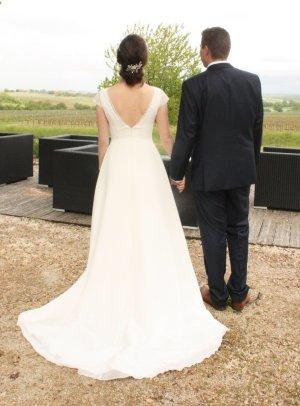Robe de mariée blanc-blanc cassé polyester