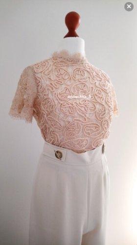 Zara Koronkowa bluzka Wielokolorowy Tkanina z mieszanych włókien