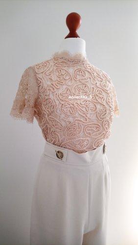 Elegantes rosa Spitzenshirt cropped mit Stehkragen Spitzensaum Crochet gehäkelt transparent Bluse