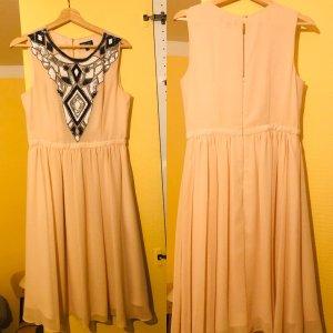 Elegantes roséfarbenes Kleid, Gr. 38, mit Pailletten-Dekor