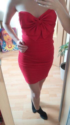 Elegantes rotes Cocktail Kleid mit großer Schleife