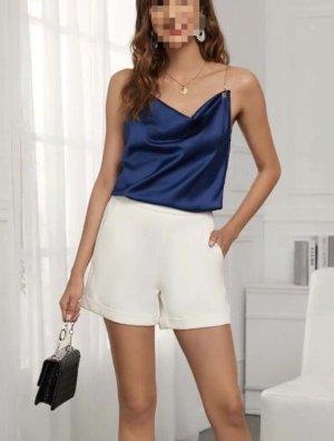 Glanzende blouse donkerblauw