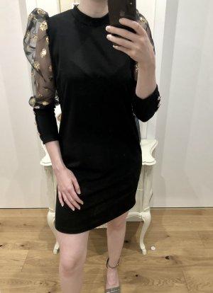 Elegantes, schwarzes Kleid mit Transparenten Ärmeln und goldenen Akzenten