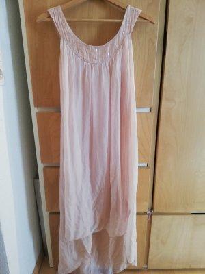 aus Italien Asymetryczna sukienka różany Jedwab