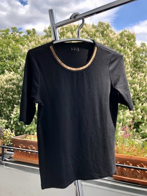 1.2.3 Paris Camiseta negro-color oro